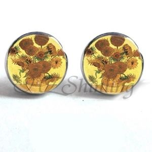 Jewelry - NEW Round Sunflower Yellow Painting Stud Earrings